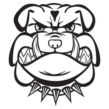 perro furioso: Angry bulldog cabeza en blanco y negro