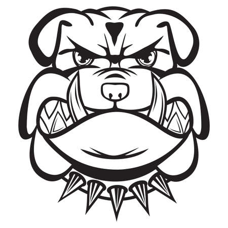 angry dog: Angry bulldog head black and white Illustration