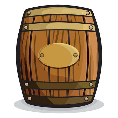 liquor: old barrel (wooden barrel) Illustration