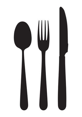 Cutlery - knife, fork and spoon Vector