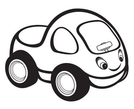 speed ride: cute kids race car black and white Illustration