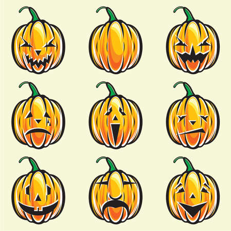 Holiday pumpkin jack lantern collection Stock Vector - 15971602