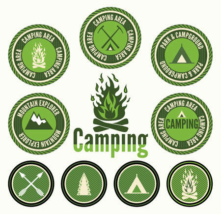 outdoor fire: Set of retro camping badges and labels Illustration