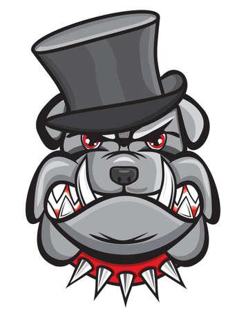 bulldog: Angry bulldog head with hat