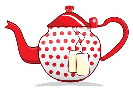faience: Retro red teapot