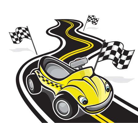 d�part course: voiture de course mignon Illustration