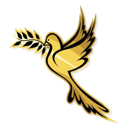Golden Dove of Peace Vector