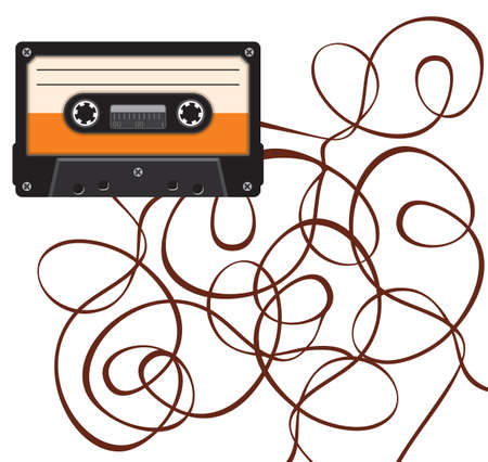 close up of broken vintage audio tape Vector