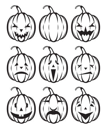 Set of holiday pumpkin jack lantern Stock Vector - 17988529