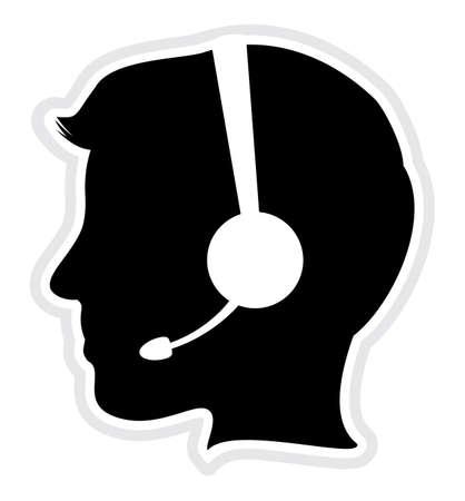 hotline: call center man pictogram