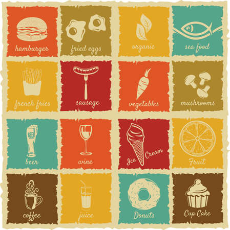 set of vintage food and drink labels Vector