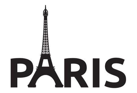 vintage paris: Paris - Eiffel Tower retro card Illustration