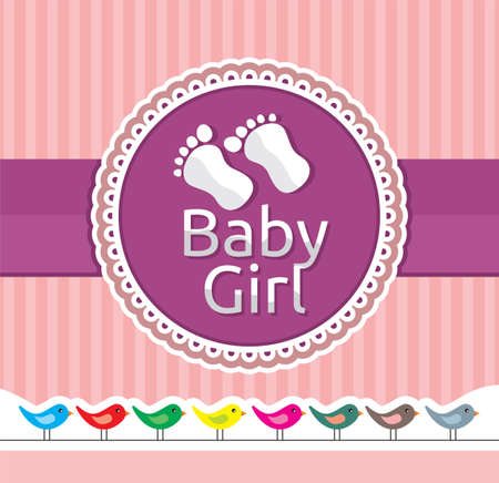 Baby girl arrival announcement card Stock Vector - 18009983