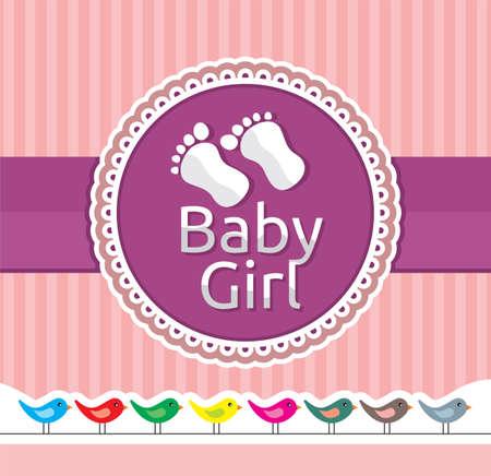 Baby girl arrival announcement card Stock Vector - 18009983