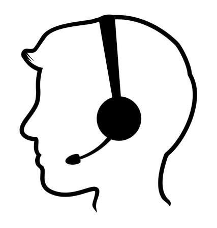 service center: call center man icon