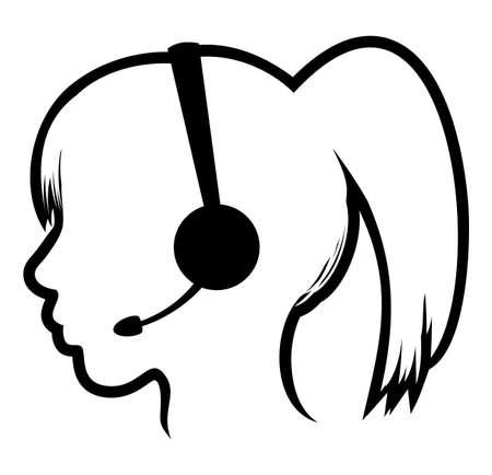 call center woman icon Vector