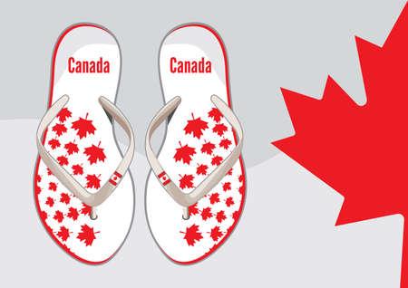 Canada flip flop sandals Stock Vector - 18009990