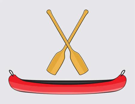 ocean kayak: Canoa con Paddle en la ilustración