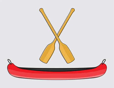 Canoe with Paddle in Illustration