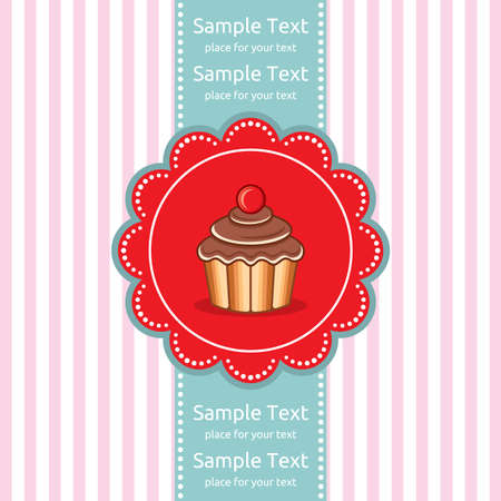 Cute cupcake gift card Stock Vector - 18009946