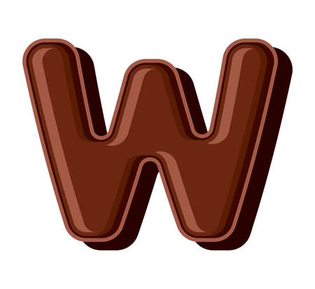 Chocolate letter isolated on white background Vector