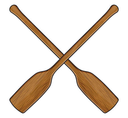 oars: wooden canoe paddle Illustration
