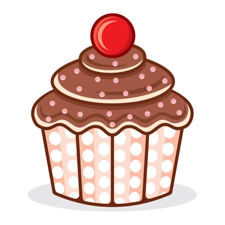 cream paper: Cupcake illustration