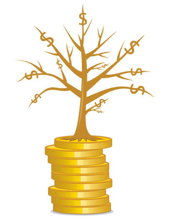 Golden money tree growing out from a coins Stock Vector - 18009827