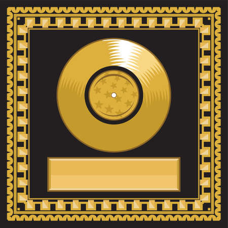 gold record: blank golden LP disc in the frame Illustration
