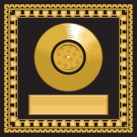 platin: leere goldene LP Scheibe im Rahmen Illustration
