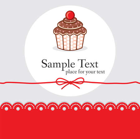 Cute cupcake gift card Stock Vector - 18099116