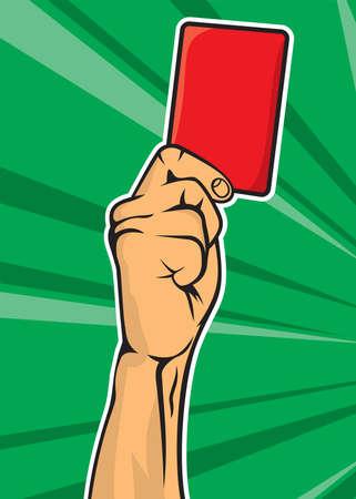 arbitros: Árbitro de fútbol a mano con tarjeta roja