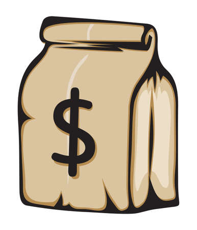 Paper money bag with dollar sign Stock Vector - 18099123