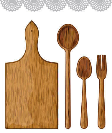 household objects equipment: Set from wooden kitchen devices