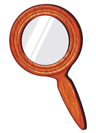 hand mirror: Mirror in wooden frame