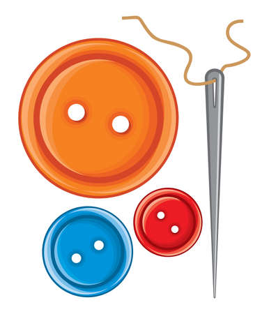 Needle and buttons Stock Vector - 18099153