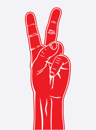 The Victory sign, hand gesture Stock Vector - 18159040