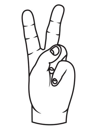 The Victory sign, hand gesture Vector