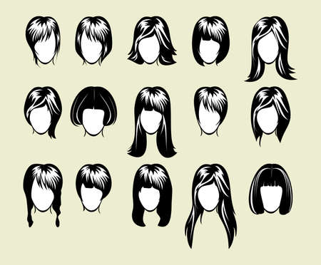 big hairstyle collection Vector