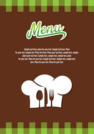 checkered label: restaurant menu design Illustration