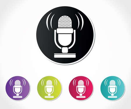 podcast: retro microphone icon Illustration
