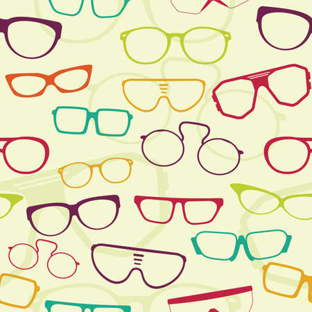 eye wear: Seamless glasses pattern Illustration