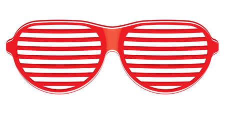 sun protection: Gafas de sol rojos sobre fondo blanco