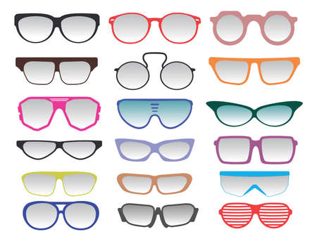 through travel: Glasses and Sunglasses collection Illustration