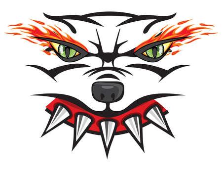 angry dog: Cabeza de bulldog enojado