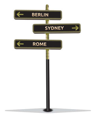 street sign showing cities Stock Vector - 18094824
