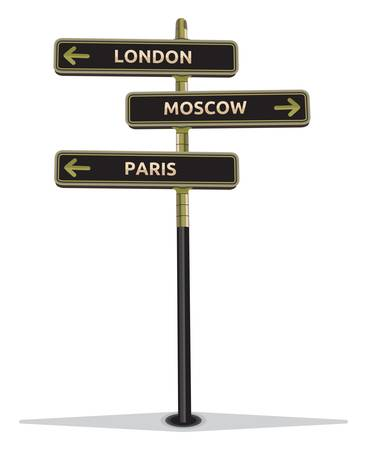 street sign showing cities - Paris Moscow London Stock Vector - 18094825