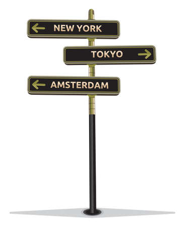 right way: street sign showing cities