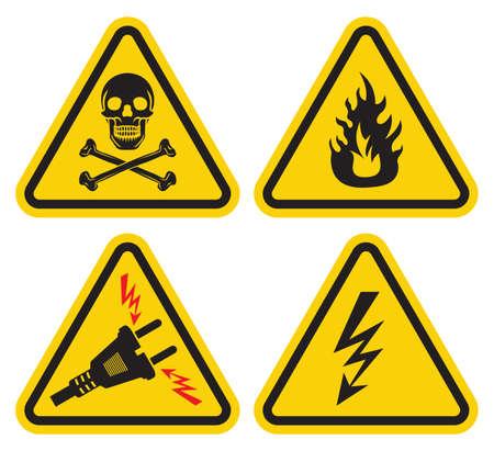 descarga electrica: Advertencia set signo Vectores