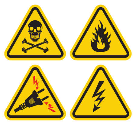electricity danger of death: Warning sign set Illustration